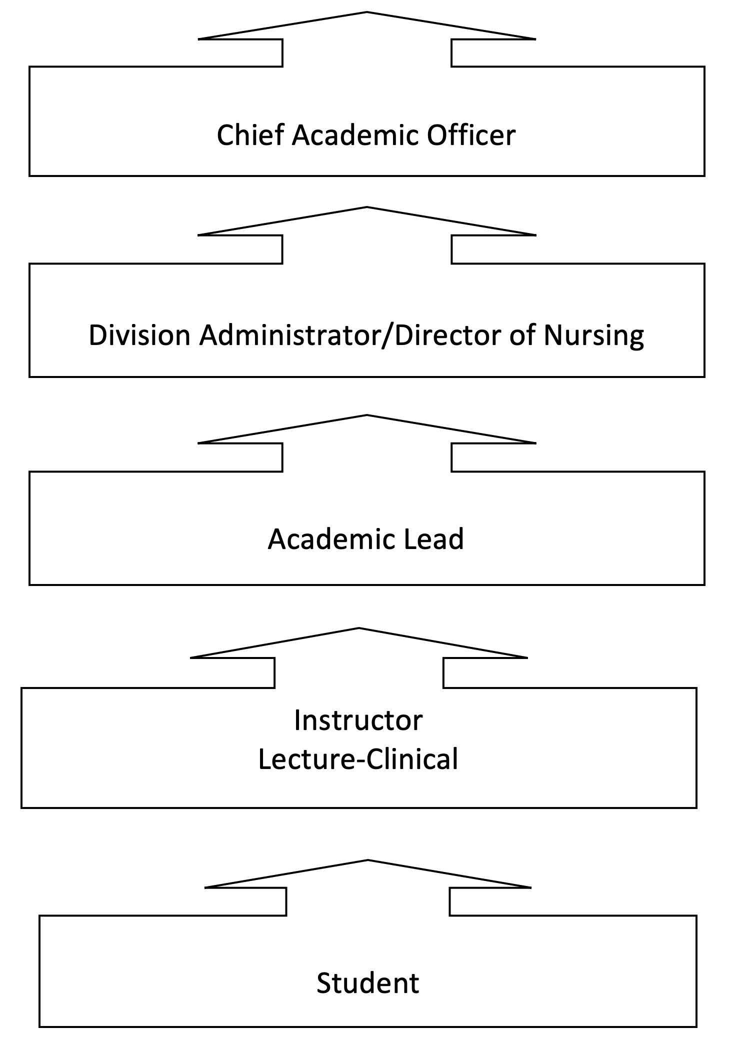 Organizational Chart - Starts at the Student to Instructor, to Academic Lead, to Director of Nursing, to Division Admin to Chierf Academic Officer