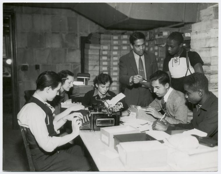 African American researcher analyzing the results of survey with NYA youth 1935-1943