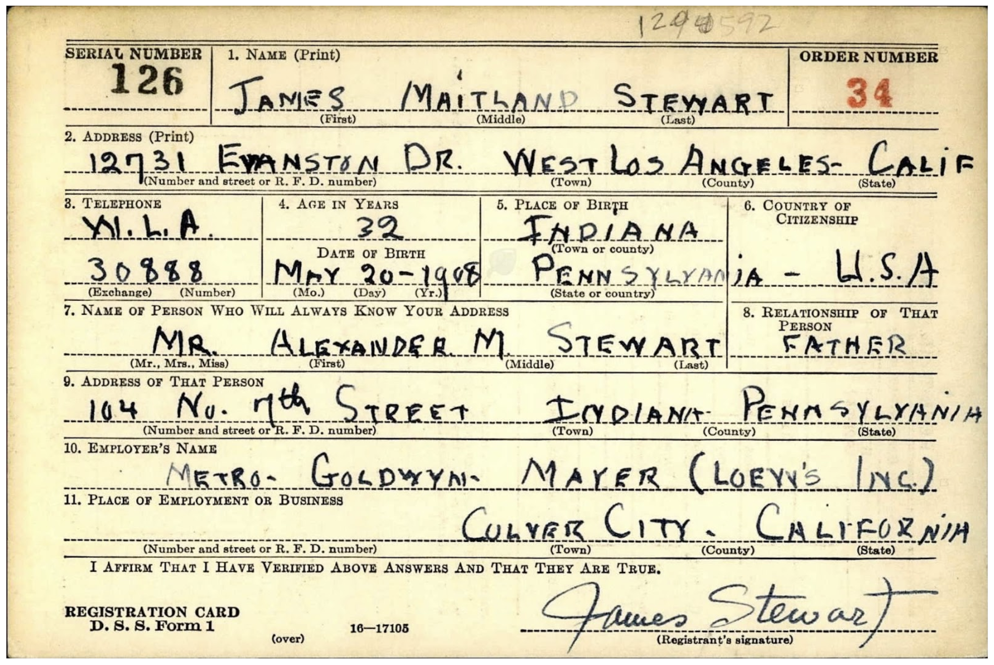 James Stewart World War Two Draft Card from Fold3