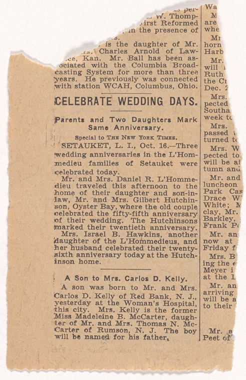 Newspaper clipping, L'Hommedieu family genealogical research files, 1923-1941. NYGB Coll 86.jpg