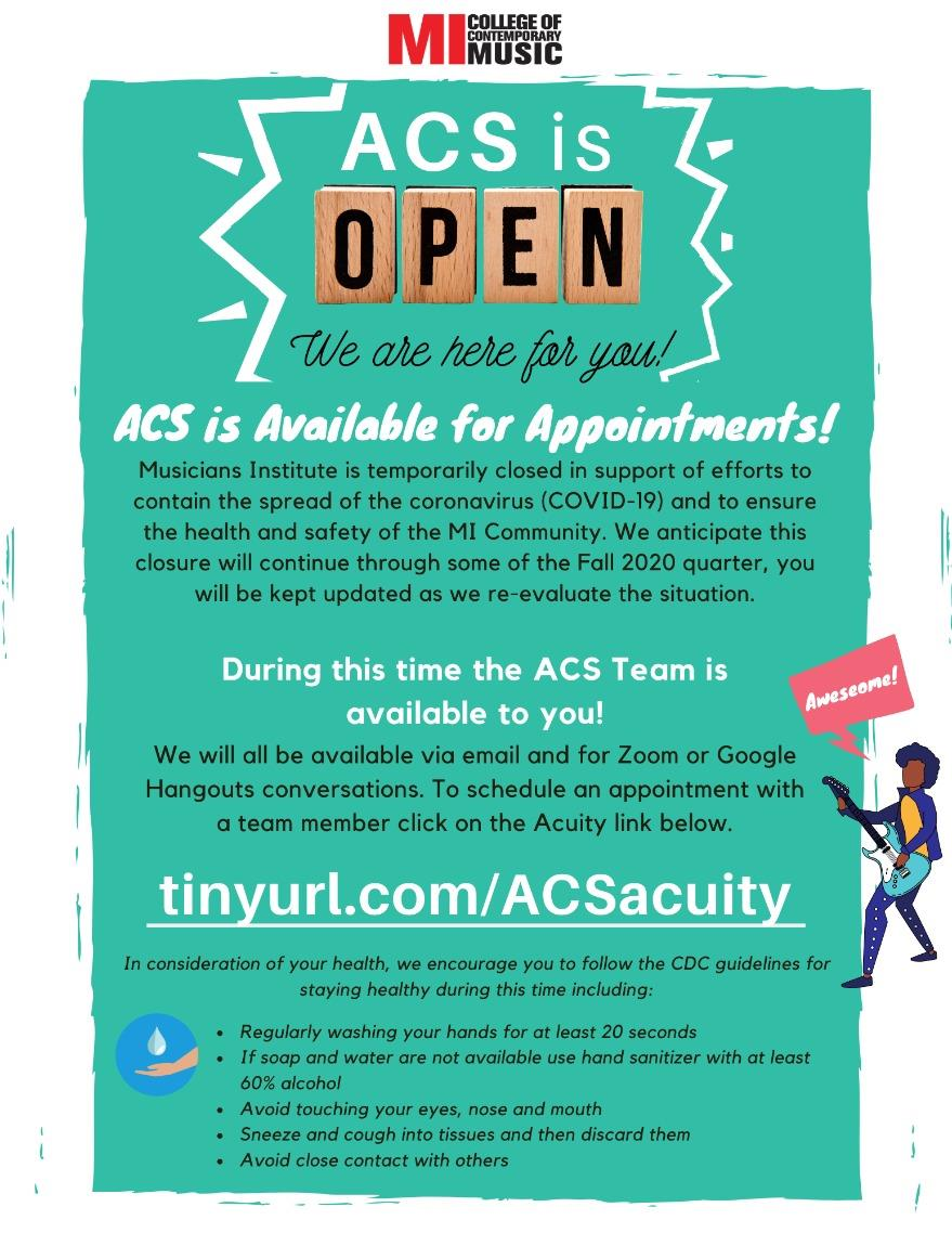 ACS is OPEN MONDAY, OCTOBER 5 – FRIDAY, DECEMBER 11, 2020