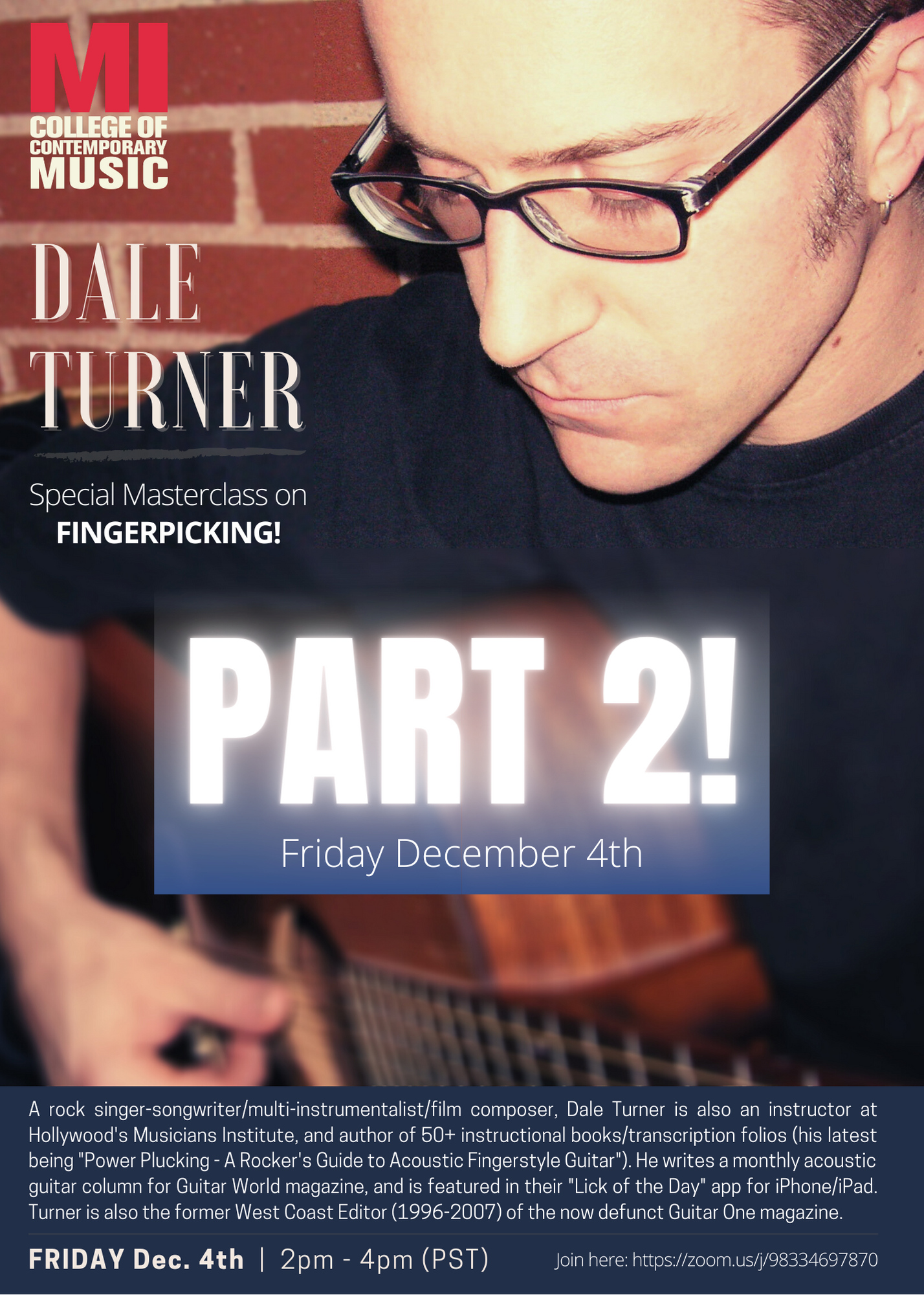 MI FACULTY FEATURE FORUM-DALE TURNER FRIDAY, DECEMBER 4, 2020, 2 – 4PM
