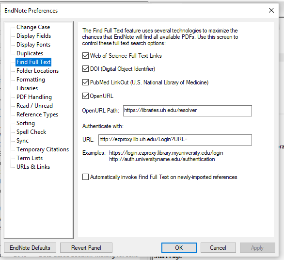 screenshot of EndNote Preferences window with Find Full Text selected