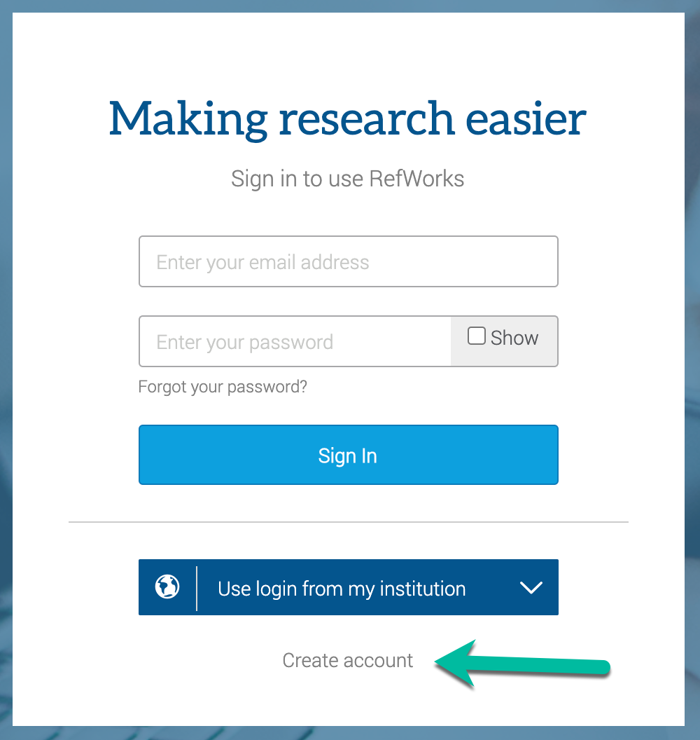 "screenshot of the Refworks login screen with an arrow pointing to the ""create account"" text"
