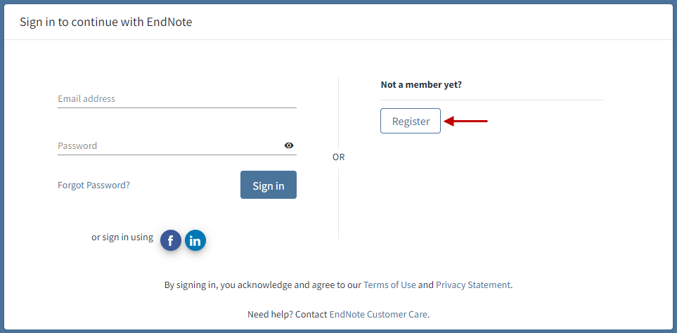 screenshot of Endnote Online sign in page with a red arrow pointing at the Register button