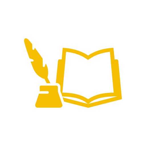 icon of an open book and quill and ink pot