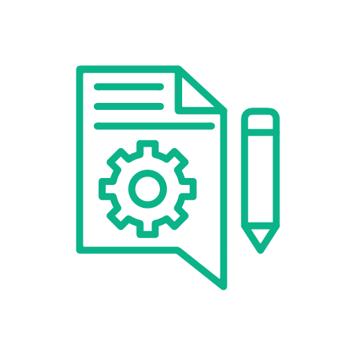 icon of a page with a gear and a pencil next to it