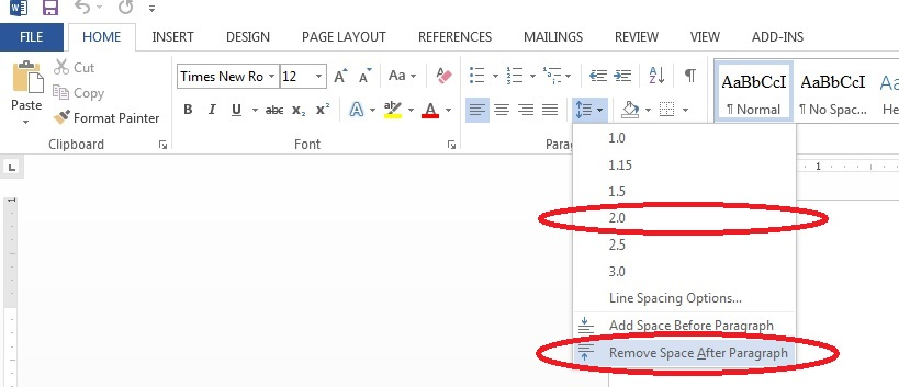 MS Word remove spacing