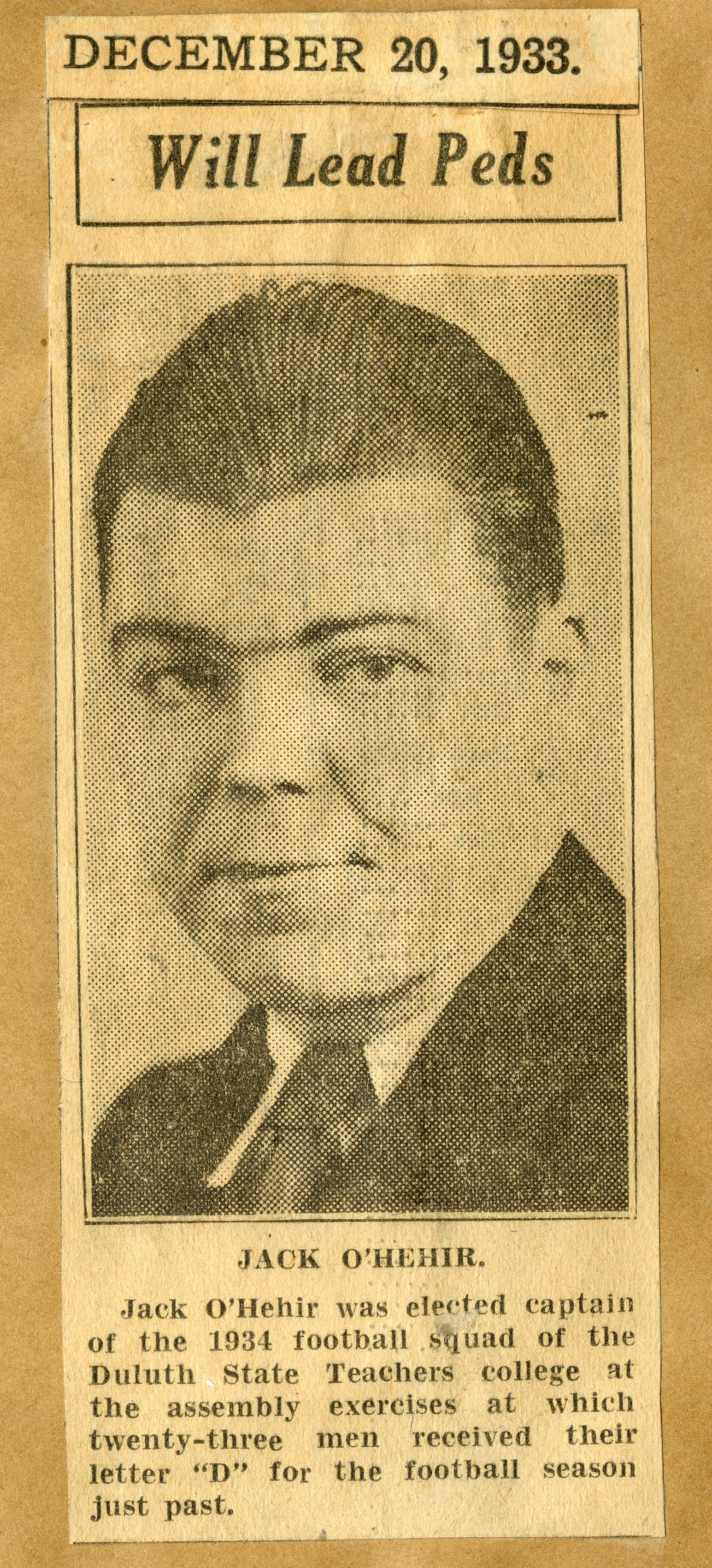 "Newspaper article titled ""Will Lead Peds"" with photograph of Jack O'Hehir"