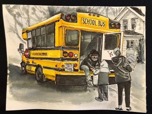 Drawing of a school bus, with the bus driver wearing a face mask and distributing a bag of food to a child through the back doors of the bus. A woman holding a smaller child is standing nearby.
