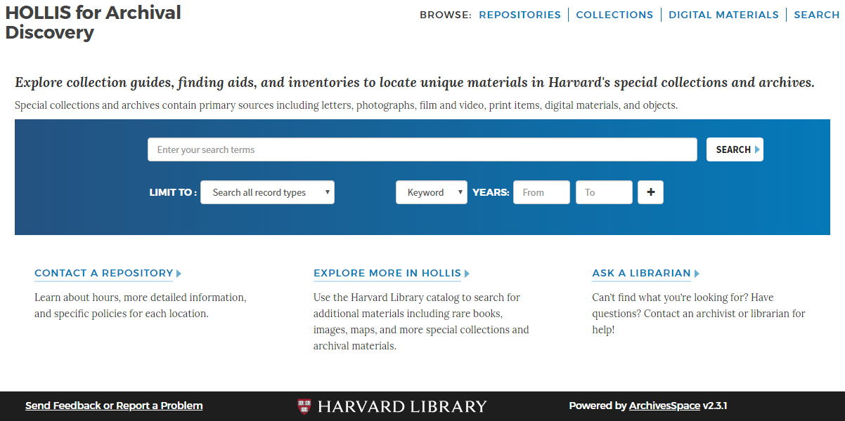 "The homepage including search box, browsing options, contact information, and an ""ask a librarian"" feature."