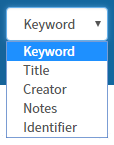 The Limit by Field menu has been expanded to show the following options for limiting by field: keyword, title, creator, notes, and identifier.