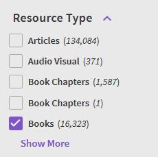 Resource type filter