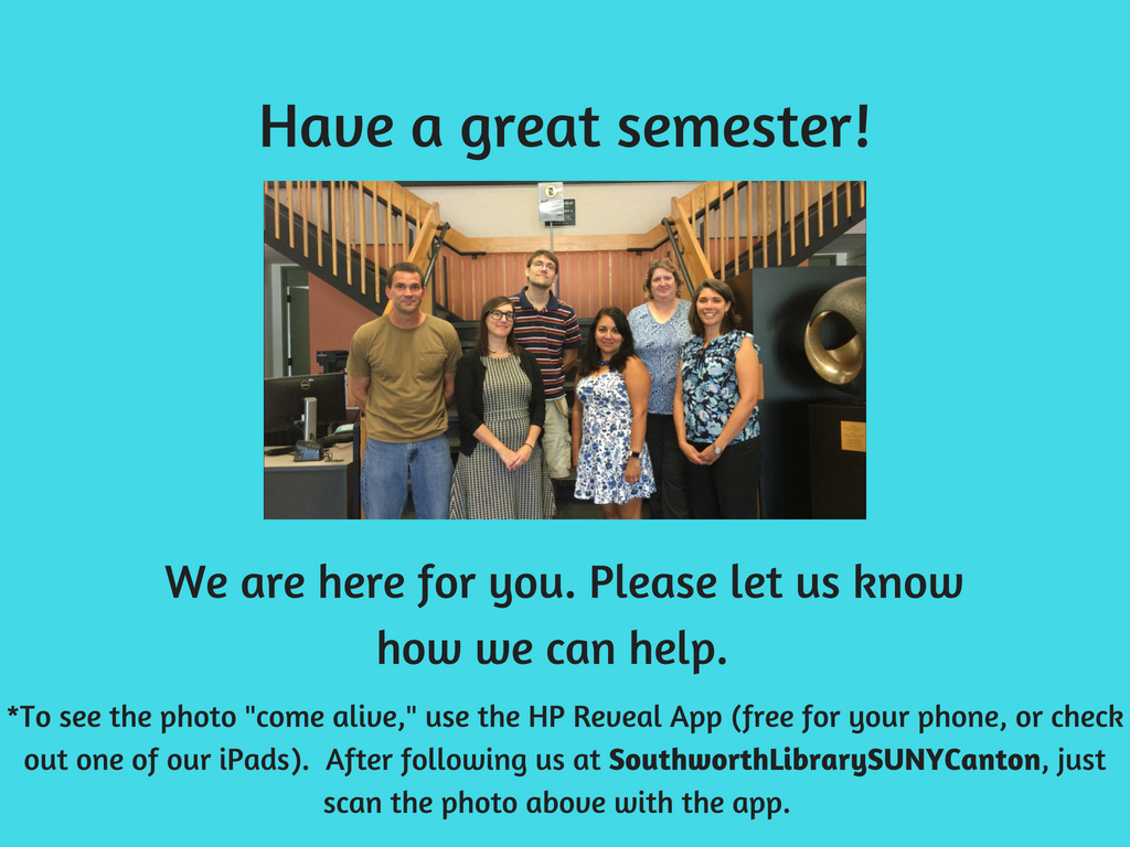 Have a great semester!  We are here for you.  Please let us know how we can help.