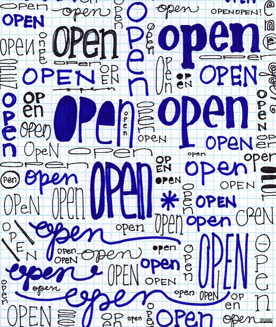 "A photo of a graph paper page covered in different versions of the word ""open."""