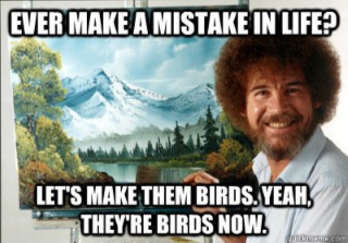 Bob Ross smiling in front of a mountain painting and the words
