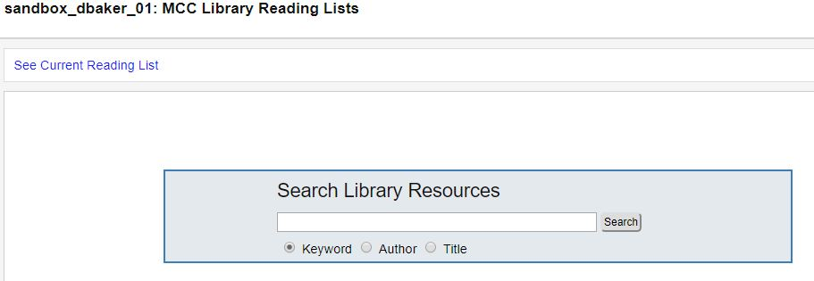 Library resource search page