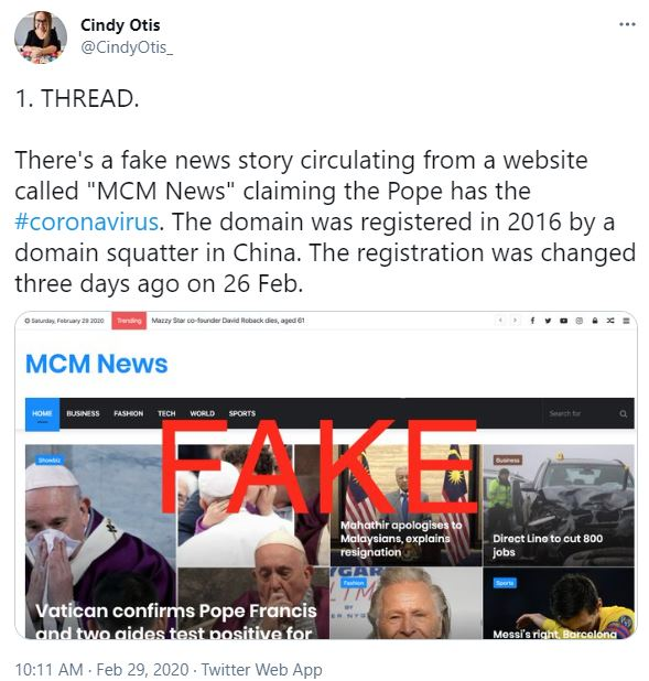 twitter post about a fake news story regarding the pope and coronavirus from February 2020