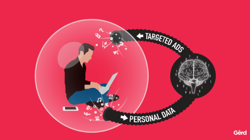 Illustration of a person sitting in a bubble with a laptop and the words