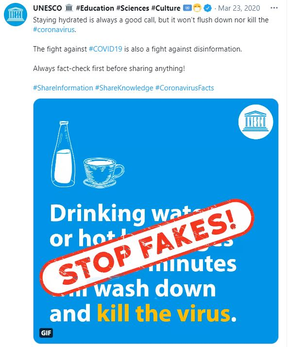 A UNESCO tweet from March 2020 about coronavirus misinformation.