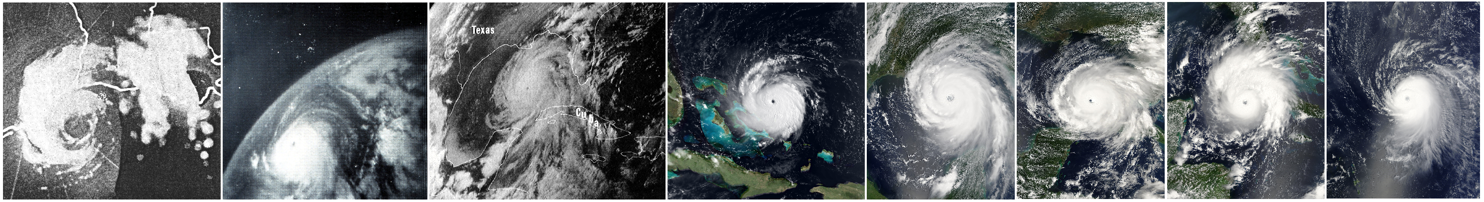 Images of Hurricanes from left to right, Audrey, Betsy, Camille, Andrew, Katrina, Rita, Gustav, and Ike. Images used are in public domain, pulled from Wikipedia Commons.