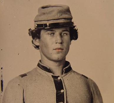 Unidentified Soldier in Confederate uniform and forage cap
