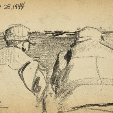 Two soldiers looking out to sea