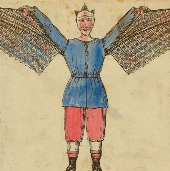 Humorous portrayal of a man who flies with wings