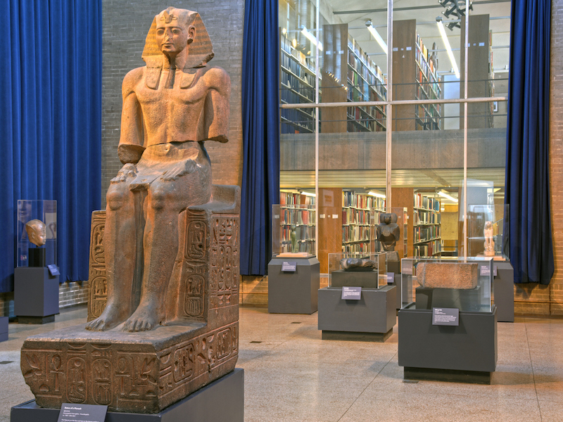museum library with egyptian statues