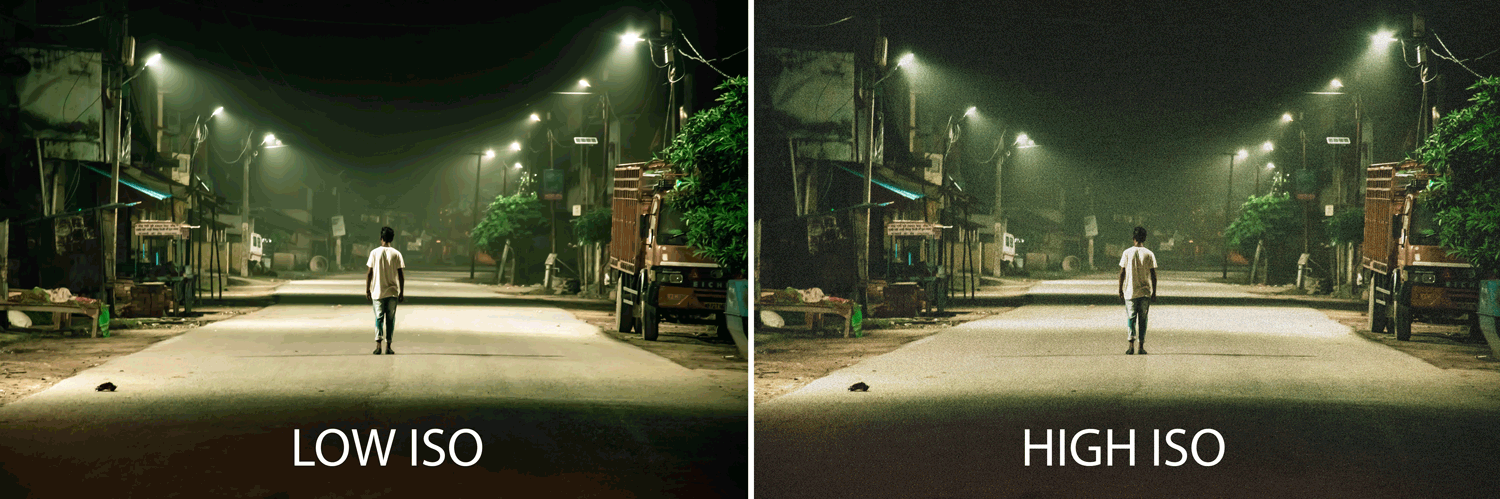 two pictures side by side that illustrate the sharpness of an image snapped with low vs high iso.