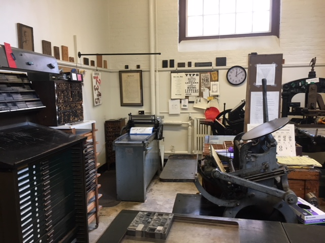 View of print studio with presses