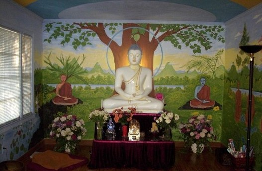 Image of a painted altar of Buddha