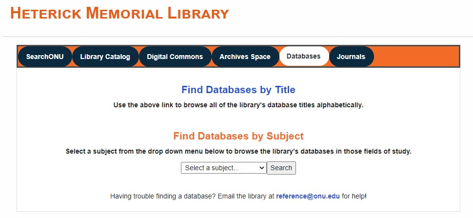 Browse database titles using the link under the Databases tab, or use the dropdown menu to search for databases by subject.
