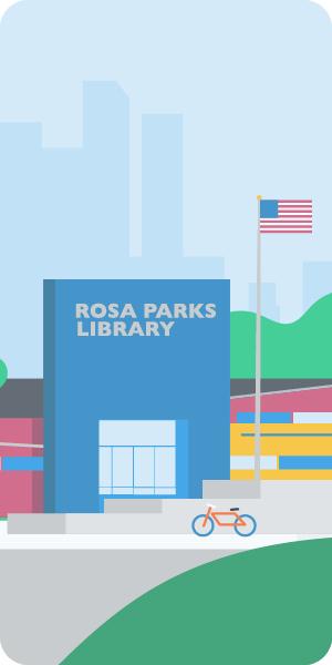 Cartoon of Rosa Parks Library exterior