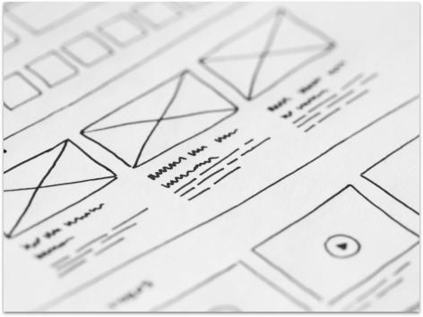 A wireframe sketch of a website