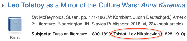 Screenshot showing search result from MLA with the Subject heading Tolstoĭ, Lev Nikolaevich circled