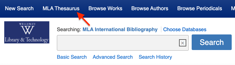 Screenshot pointing to the MLA Thesaurus on the MLA search screen