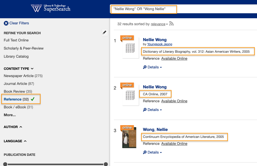 """Screen shot of a search in Supersearch with """"Nellie Wong"""" OR """"Wong Nellie"""" in the search box, and the reference filter checked, showing three of 32 results from different reference sources"""