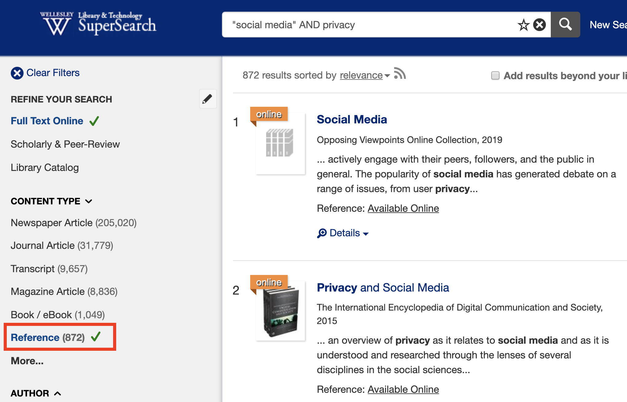 screenshot of search for social media and privacy limited to reference