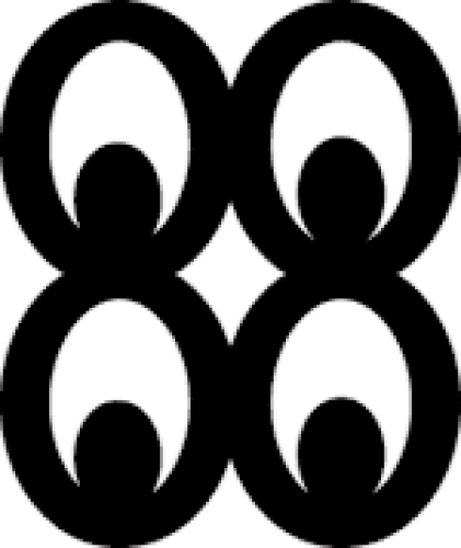 "Adinkra symbol ""mate masie"": four ovals in a square pattern with ovals inside, like four eyes"