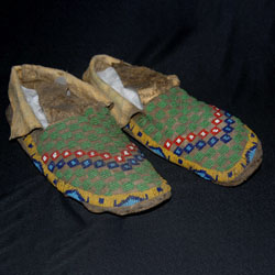 beaded moccasins, green, blue, red, white & yellow