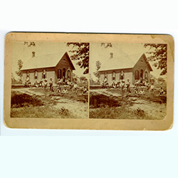 stereograph image of a schoolhouse