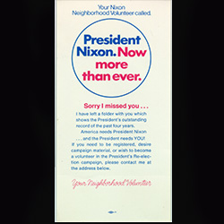 Campaign pamphlet with red and blue writing.