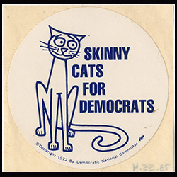 Skinny Cats for Democrats round sticker