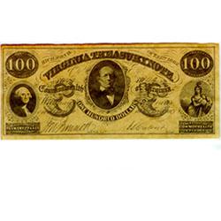 Confederate currency, $100, Virginia