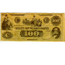 Confederate currency, $100 Mississippi