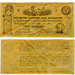 Confederate currency, $5.00, South Carolina