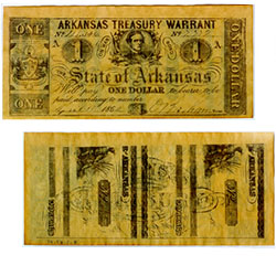 Confederate currency, $1 Arkansas