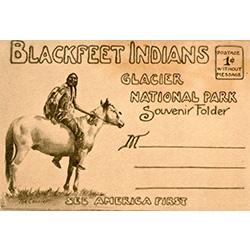 souvenir postcard featuring a Blackfeet Indian