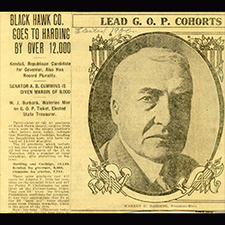 Newsprint with a photo of Calvin Coolidge
